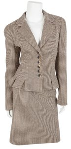 Angelo Tarlazzi Angelo Tarlazzi Brown And Cream Houndstooth Skirt Suit Set