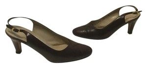Salvatore Ferragamo All Brown leather embossed leather cap toe slingback Pumps