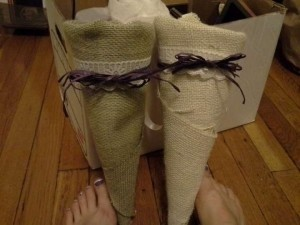 Sage Green and Cream Burlap Wrapped Aisle Cones Ceremony Decoration
