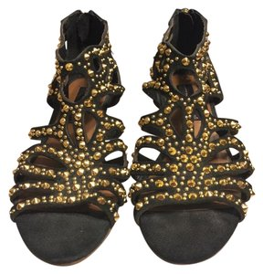 Steven by Steve Madden Black/Gold Sandals