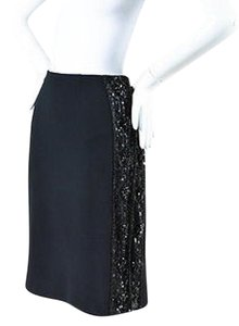 Valentino Beaded Sequined Embellished Skirt Black