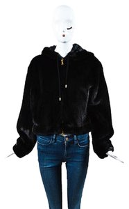 Other Moschino Couture Mink Silk Hooded Zipped Black Jacket