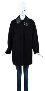 Balenciaga Wool Leather Sth Grommet Coat