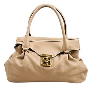 Chloé Chloe Pebbled Leather Ghw Pleated Elsie Satchel in Beige