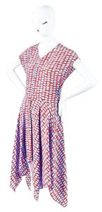 Stella McCartney Red Blue Silk Graphic Spot Print Asymmetrical Dress