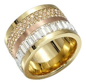 Michael Kors NWT PAVE-EMBELLISHED TWO-TONE BARREL RING,SIZE 8 MKJ19079318
