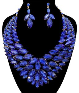 Other Royal Blue Rhinestone Crystal Necklace And Earrings