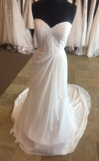 Justin Alexander Ivory Lace Over Ivory Gown with Clear Sweetheart 6149 Wedding Dress Size 10 (M)