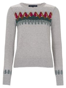French Connection Holiday Christmas Robin Bird Sweater