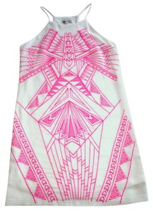 Jealous Tomato short dress White w/Pink Embroidery Halter Shift A-line on Tradesy