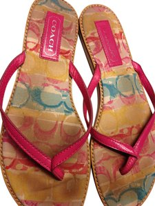 Coach Multicolor Leather Poppy Pink Sandals