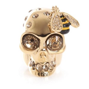 Alexander McQueen Skull Bee Crystal Cocktail Ring