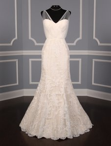 Romona Keveza Blush / Ivory Alencon Lace and Tulle L5012 Formal Wedding Dress Size 6 (S)