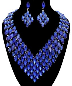Other Royal Blue Bejeweled Drops Rhinestone Crystal Necklace And Earrings