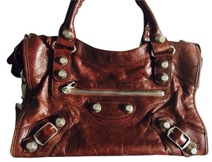 Balenciaga Studded Leather Mirror Icon Tote in Brown