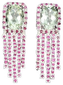 Stunning Natural Platinum Green Amethyst and Red Ruby Chandelier Earrings