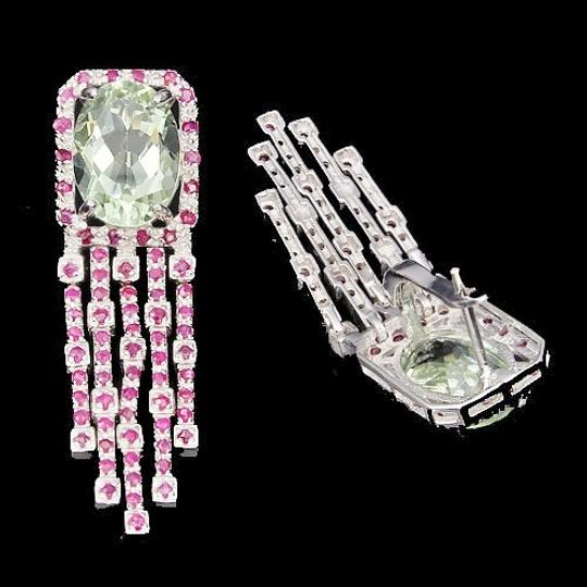 Other Green Amethyst and Red Ruby Earrings