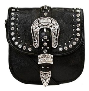 Harley Davidson Leather Crystal Embellished Small Cross Body Bag