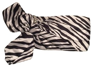 Steve Madden Night Out Rhinestone Bow Detail Zebra Print Clutch