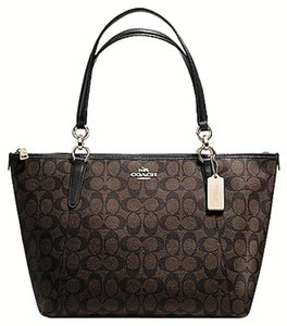 Coach Satchel Leather Satchel Tote in Brown Black gold tone