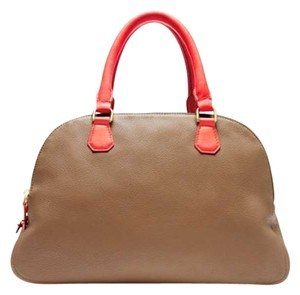 J.Crew Satchel in Poppy Walnut Seed (camel with red-orange handles)