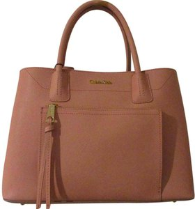 Calvin Klein Leather Tote in Cherry