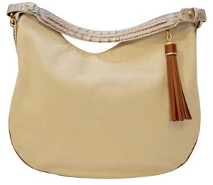 Brahmin White Leather Hobo Bag