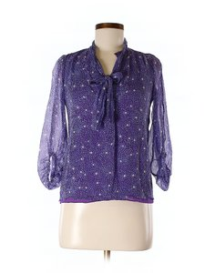 Diane von Furstenberg Silk Flowers Ruffle Top Purple / Blue