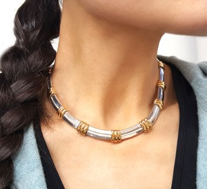 Tiffany & Co. Atlas Collection Heavy 18K Gold & Sterling Silver Necklace