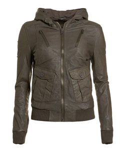 Super Dry Leather Hooded Grey Leather Jacket