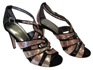 Antonio Melani Size 9.00 M Sequins Leather Soles Very Good Condition Black, Pink. Sandals
