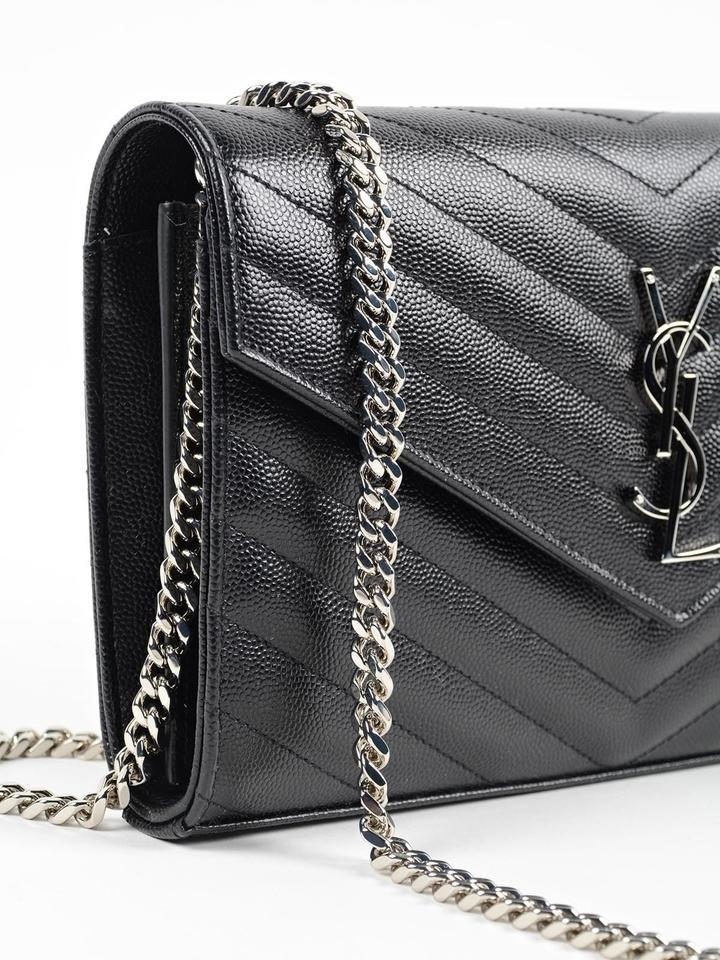 Saint Laurent Ysl Monogram Quilted Envelope Wallet-on-chain Clutch Black  Leather Cross Body Bag - Tradesy 3921c190b4d37