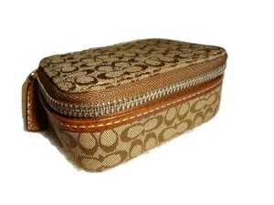 Coach Mini Signature Canvas Jacquard Zip Around Pill Box & Bottles