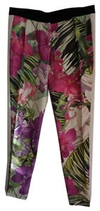 Trina Turk Floral Pink Printed Trouser Pants Orchid Utopia / Tuxedo White Side Stripe