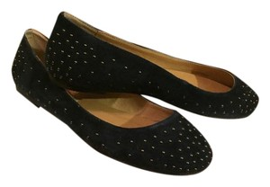 Charlotte Ronson Suede Studded Ballet Navy Flats