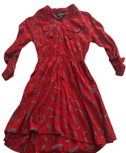 Angie short dress Red-Orange/Grey Floral on Tradesy