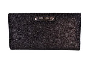 Kate Spade Heaven Holiday Sparkle Stacy Slim Card Wallet Clutch NWT Black