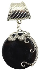 Unknown Stunning Black & Silver Scarf Charm Pendant Free Shipping