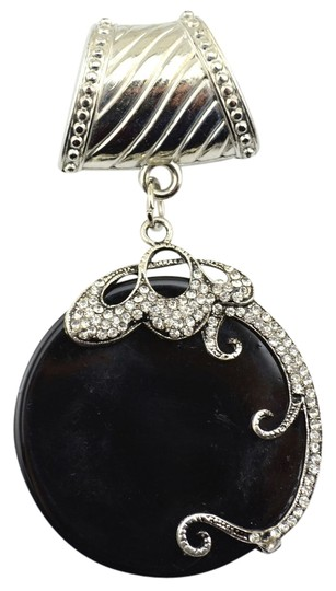 Unknown BOGO Free Stunning Black & Silver Scarf Charm Pendant Free Shipping