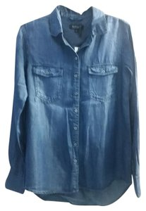 Buffalo David Bitton Chambrey Dark Wash Button Down Shirt Denim