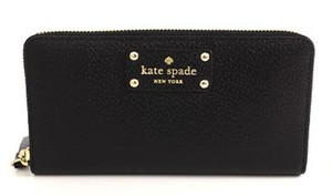 Kate Spade Wellesley Neda Zip Leather Wallet Phone Card Clutch NWT $198 Black