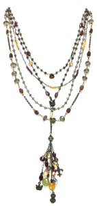 Kinley Sterling silver Multi Strand Crown Kinley Necklace Mixed Stones