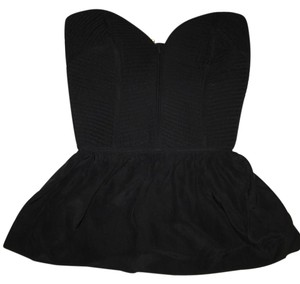 Parker Bustier Strapless Panelling Top Black