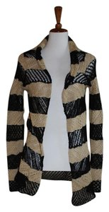 Lauren Jeans Company Ralph Black Light Open Sweater Black Tan Size X-small Cardigan