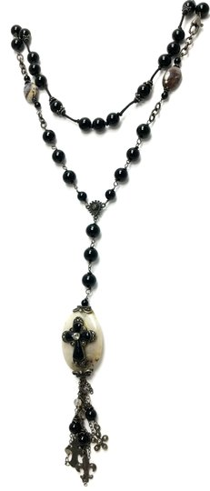Kinley Sterling silver Rosary Cross Black Onyx Kinley Necklace Image 1