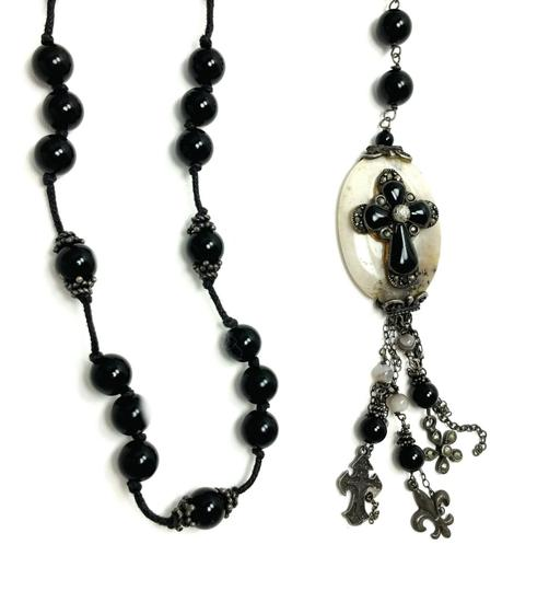Kinley Sterling silver Rosary Cross Black Onyx Kinley Necklace Image 3