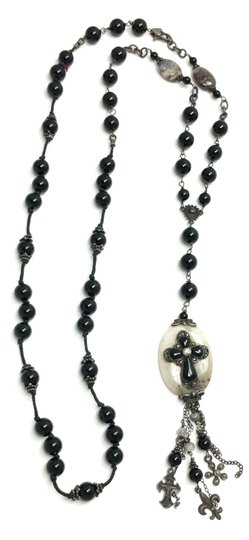 Kinley Sterling silver Rosary Cross Black Onyx Kinley Necklace Image 6