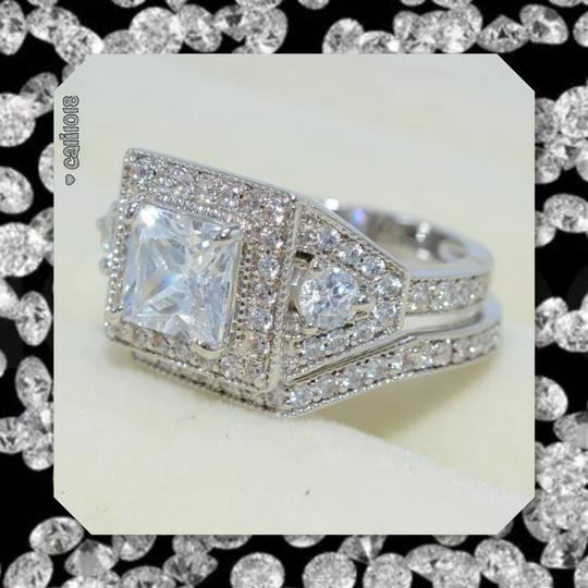Other New Stunning 2pc Diamonique and CZ White GF Wedding Ring Set Image 1