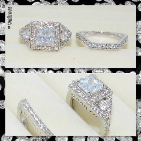 Other New Stunning 2pc Diamonique and CZ White GF Wedding Ring Set Image 2