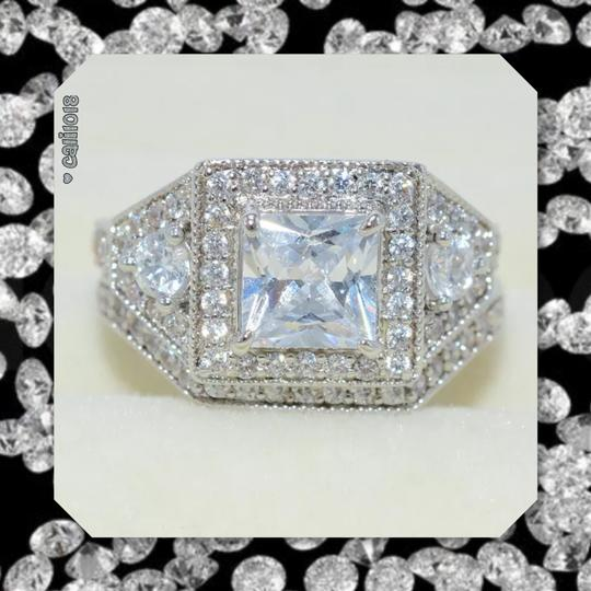 Other New Stunning 2pc Diamonique and CZ White GF Wedding Ring Set Image 3